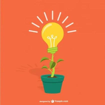 Plant with Lightbulb Cartoon Free Vector