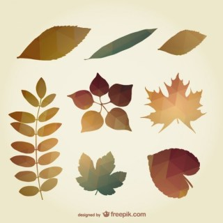 Polygonal Autumn Leaves Free Vector