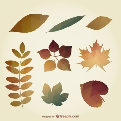 Polygonal Autumn Leaves Free Vector