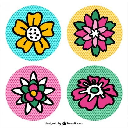 Pop Art Flower Icons Free Vector