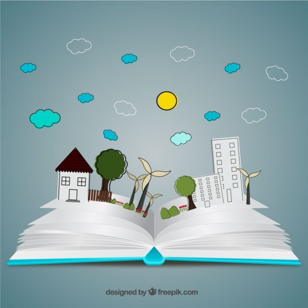 Pop Up Book in Hand Drawn Style Free Vector