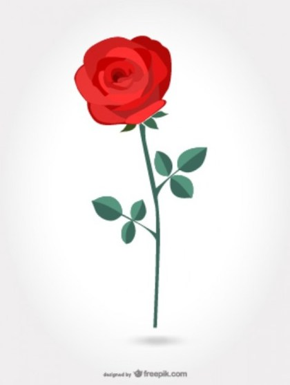 Red Artistic Rose Free Vector
