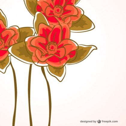 Red Flowers Card Download Free Vector