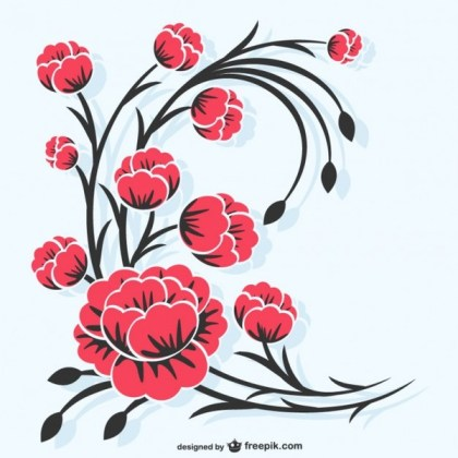 Red Flowers Illustration Free Vector