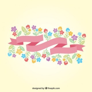 Ribbon with Spring Flowers Free Vector