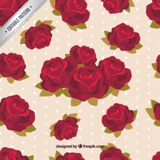 Roses Pattern with Polka Dot Background Free Vector