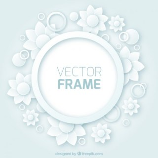 Round Frame with Flowers Free Vector