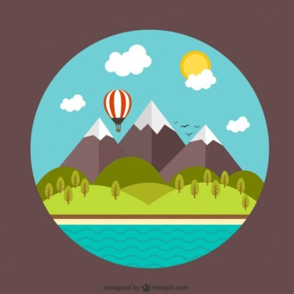 Rural Landscape with Mountains and Beach Free Vector