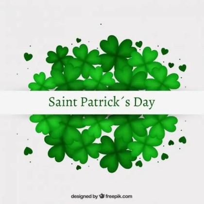 Saint Patricks Day Card with Shamrocks Free Vector