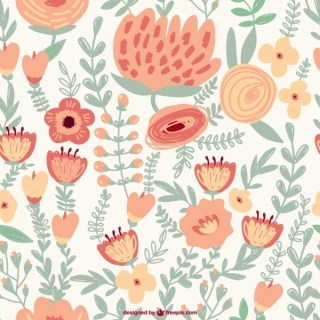 Seamless Flowers Drawing Free Vector