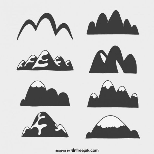 Silhouette of Mountains Free Vector