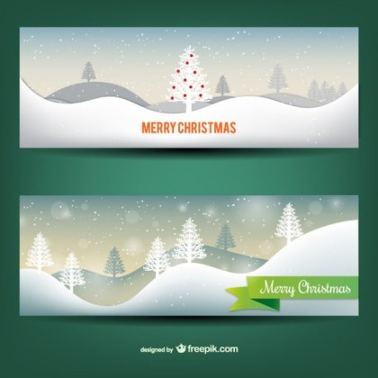 Snowy Christmas Banners Free Vector
