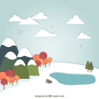 Snowy Landscape in Cartoon Style Free Vector