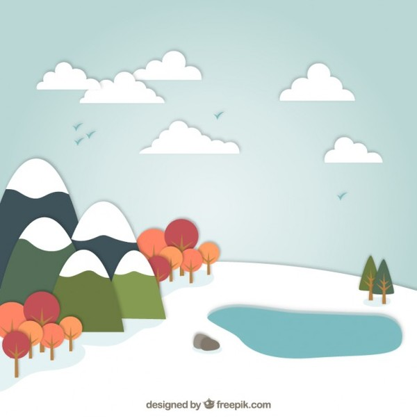 Snowy Landscape in Cartoon Style Free Vector