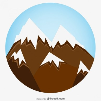 Snowy Mountain Zoom Art Free Vector