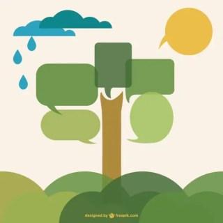 Speech Bubble Tree Flat Design Free Vector