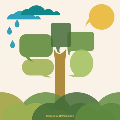 Speech Bubble Tree Flat Design Free Vector