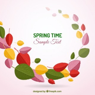 Spring Background with Colorful Leaves Free Vector