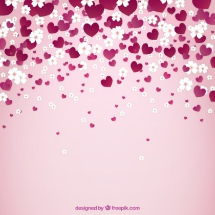 Spring Background with Flowers and Hearts Free Vector