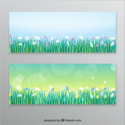 Spring Banners Free Vector