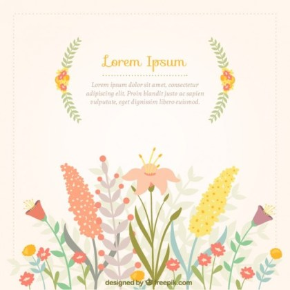 Spring Card with Colorful Flowers Free Vector