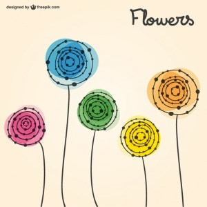 Spring Drawn Flowers Free Vector