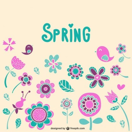 Spring Floral Ornaments Free Vector