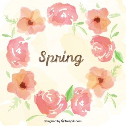 Spring Frame in Watercolor Style Free Vector