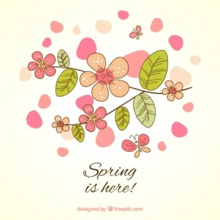 Spring Is Here Card in Sketchy Style Free Vector