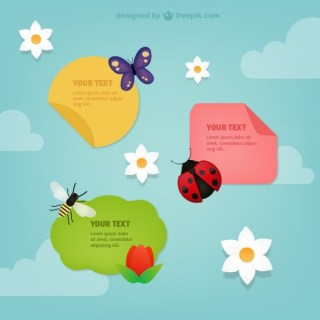 Spring Labels with Insects Free Vector