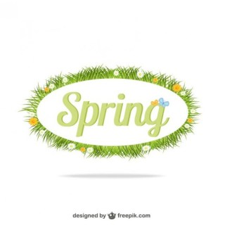 Spring Letters with Leaves Free Vector