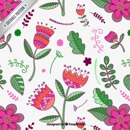 Spring Pattern with Flowers Free Vector