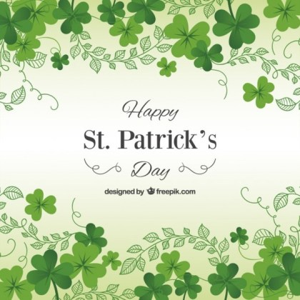St Patricks Day Card with Shamrocks Free Vector