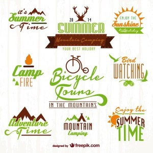 Summer Time Nature Adventure Set Free Vector