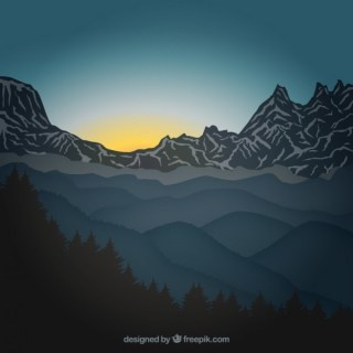 Sunrise in the Mountains Free Vector