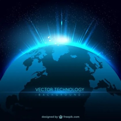 Technology Background with Planet Free Vector