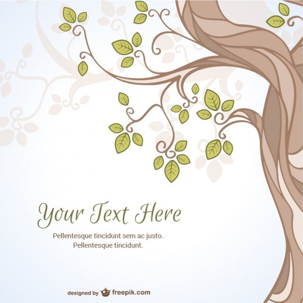 Template with Tree Free Vector