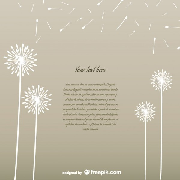 Template With White Dandelions Free Vector