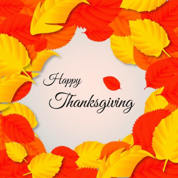 Thanksgiving Card with Fall Leaves Free Vector