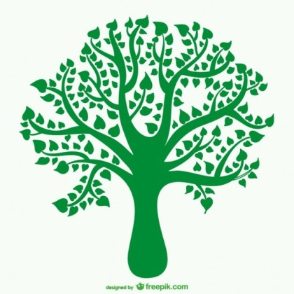 Tree Silhouette with Heart Shaped Leaves Free Vector