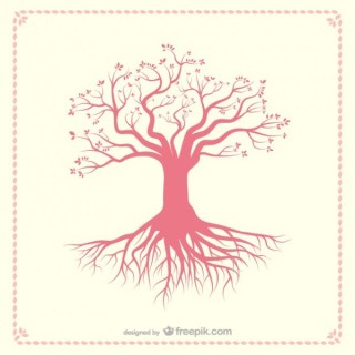 Tree Silhouette with Roots Free Vector