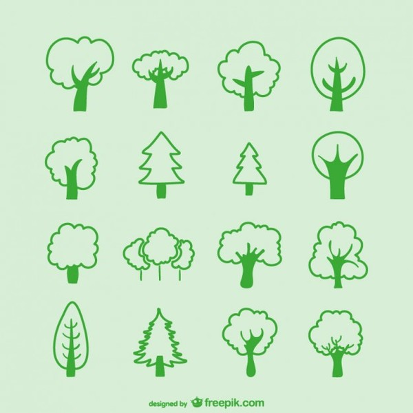 Tree Sketches Pack Free Vector