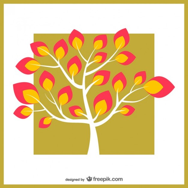 Tree with Colorful Leaves Free Vector