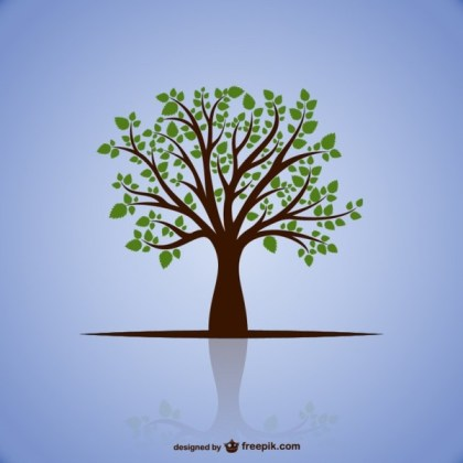 Tree with Green Leaves Free Vector