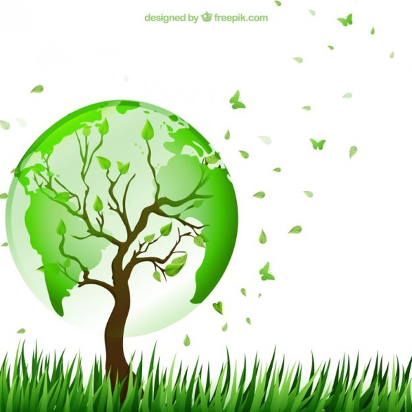 Tree with the World Map Free Vector