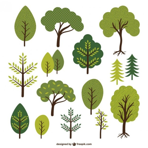 Trees and Leafs Collection Free Vector