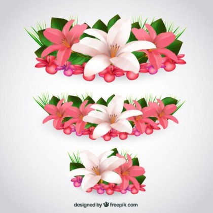 Tropical Flowers in Realistic Style Free Vector