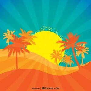 Tropical Rising Sun . Free Vector