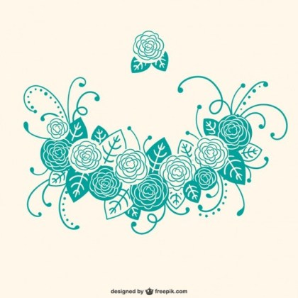 Turquoise Calligraphic Floral Ornaments Free Vector