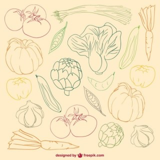 Vegetables Colour Doodle Free Vector